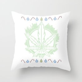 Weed Ugly Christmas - Be Hippie Always Throw Pillow