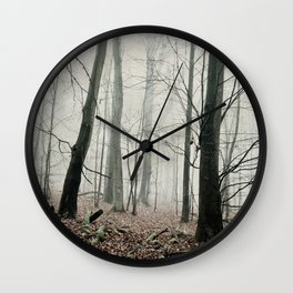 bare trees in fog Wall Clock