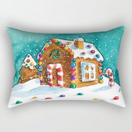 Gingerbread house with lots of candy Rectangular Pillow