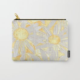 Floral Pattern Daisies, Sunshine Yellow Carry-All Pouch