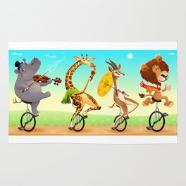 Funny wild animals on unicycles Rug