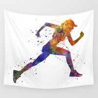 runner Wall Tapestries featuring Woman runner jogger running by Paulrommer