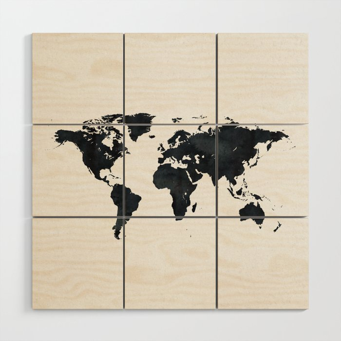 World Map in Black and White Ink on Paper Wood Wall Art by naturemagick