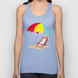 Space Odyssey | Astronaut Lounging at the Beach | Sea Side | Space | Umbrella | pulps of wood Unisex Tank Top