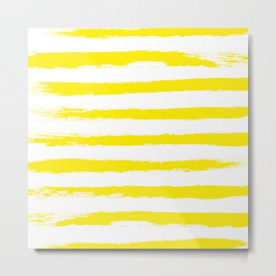 Sunny Yellow STRIPES Handpainted Brushstrokes Metal Print