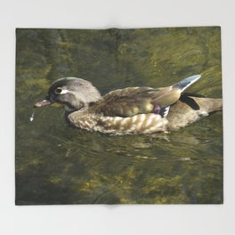 Female Wood Duck at Green Valley Inn Throw Blanket
