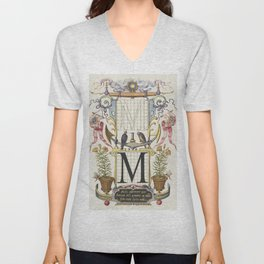 Guide for Constructing the Letter M from Mira Calligraphiae Monumenta or The Model Book of Calligrap Unisex V-Neck
