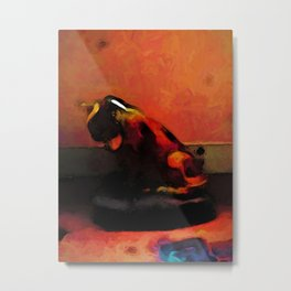 Heatwave: Volcano Cat and a Hot Pink and Orange Wall Metal Print