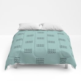 Navy waves on tuquoise Comforters