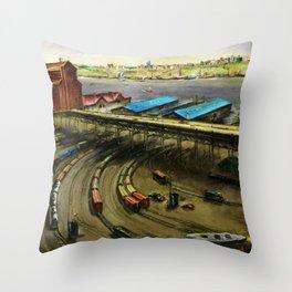 American Masterpiece 'Railroad Yard Along the River' by Lamar Dodd Throw Pillow