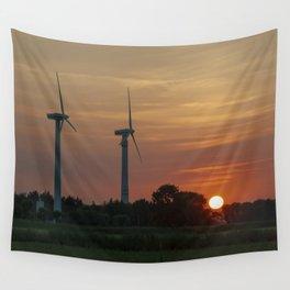 Windräder im Sonnenuntergang Horumersiel Wall Tapestry