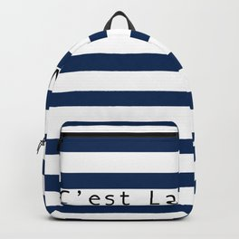 C'est La Vie - Blue White Stripes Backpack