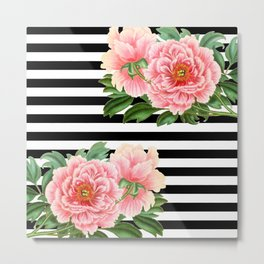 Pink Peonies Black Stripes Metal Print