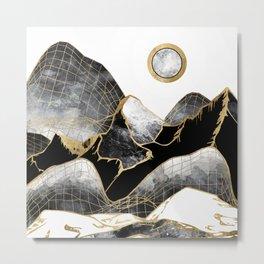 Minimal Black and Gold Mountains Metal Print