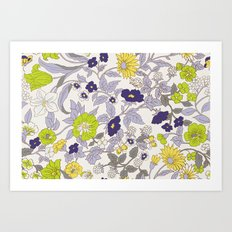 floral garden - blues and greens Art Print