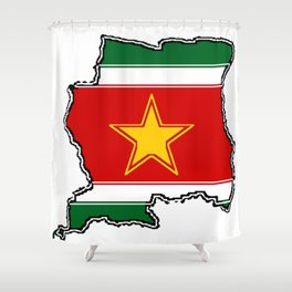 Suriname Surinam map with Surinamer Flag Shower Curtain