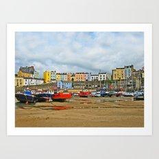 Tenby Harbour . Sunlight. Pembrokeshire. Wales. Art Print
