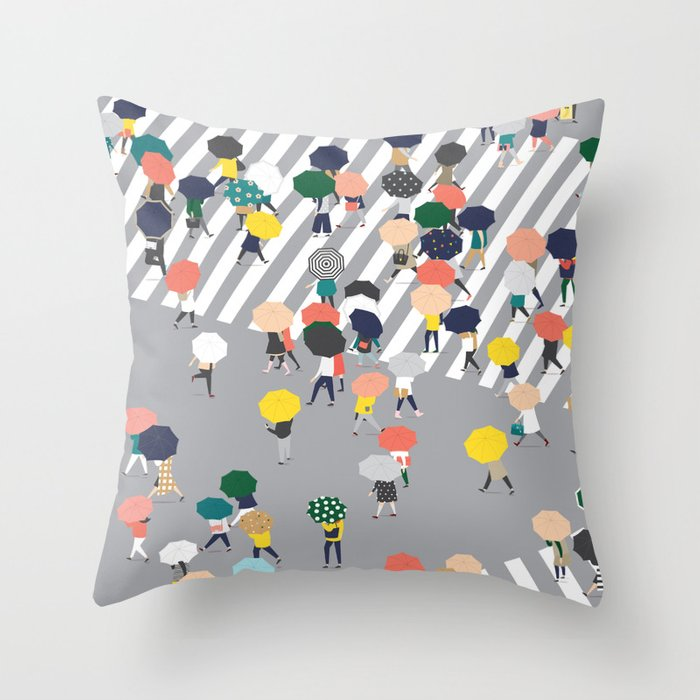 Crossing The Street on a Rainy Day - Grey Throw Pillow