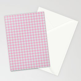 Pink & Green Pixelated Houndstooth Pattern Stationery Cards