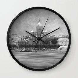 View from the Neva b&w Wall Clock