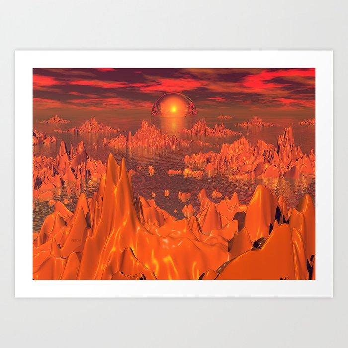 Space Islands of Orange Art Print