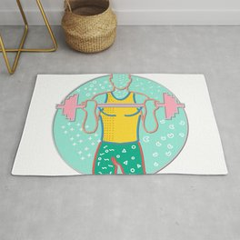 Athlete Lifting Barbell Front Circle Memphis Style Rug