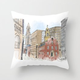 The Old State House Throw Pillow