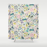 heels Shower Curtains featuring Heels and Handbags (sweet) by Anna Deegan