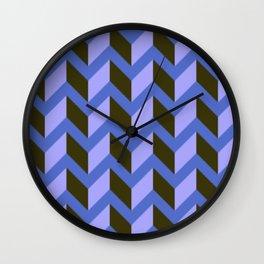Purple and Black Chevron Pattern Wall Clock