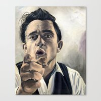 johnny cash Canvas Prints featuring Johnny Cash by scottmitchell