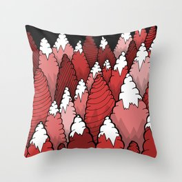 The Red forest under the mountain Throw Pillow