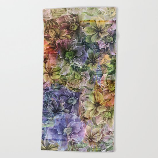 Floral painterly pattern Beach Towel