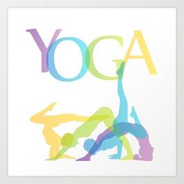 yoga poses in line Art Print