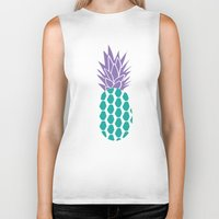pineapples Biker Tanks featuring Pineapples  by Ashley Hillman