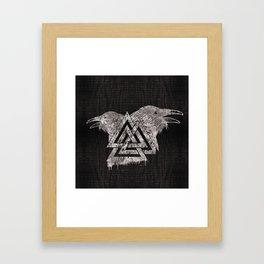 Valknut Symbol and Raven Framed Art Print