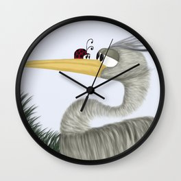 Herb The Heron And His Visitor  Wall Clock