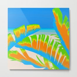 Tropical Colored Banana Leaves Design Metal Print