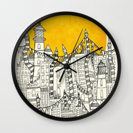 Big Sun Small City Wall Clock