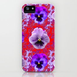 RED & PURPLE PANSIES GARDEN PATTERN iPhone Case