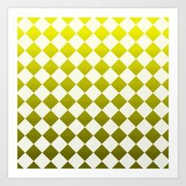 yellow checkers Art Print