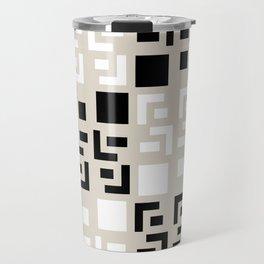 Retro Fancy Cinder Block Pattern Tan Travel Mug