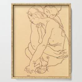 "Egon Schiele ""Woman and Girl Embracing"" Serving Tray"
