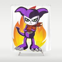 digimon Shower Curtains featuring Impmon by Taurustiger86