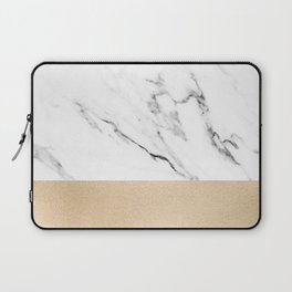 White Marble with Black and Copper Bronze Laptop Sleeve