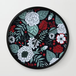 Red, Gray, Aqua & Navy Blue Floral/Botanical Pattern Wall Clock