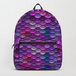 Shimmering Mermaid Scales In Bright Pink Backpack