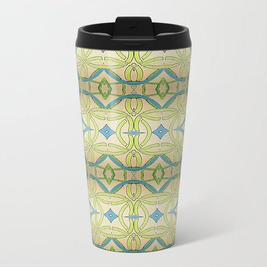 Blue Green Abstract Metal Travel Mug