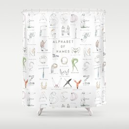 Alphabet of names Shower Curtain
