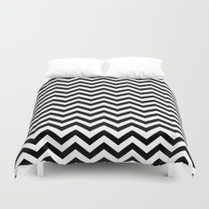 Keep Calm And Dream On (Zig Zag Chevron Black Lodge Floor, Twin Peaks) Duvet Cover