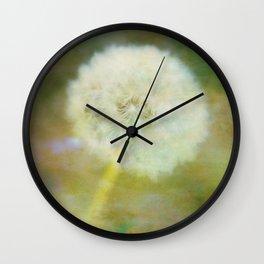 Dandelion Wishes Yellow Wall Clock
